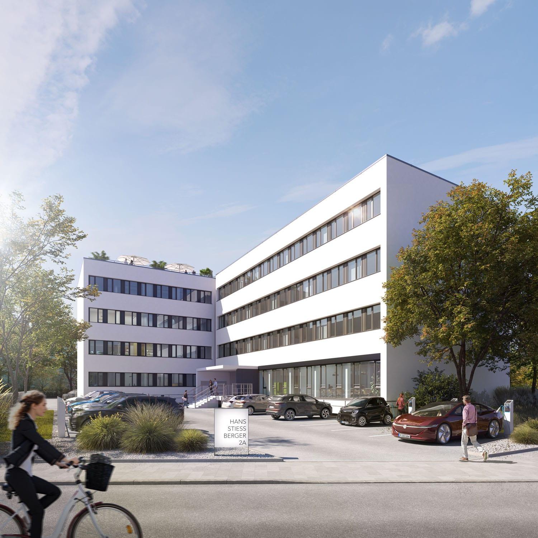 Revitalisiertes Bürogebäude mit modernem Mobilitätskonzept