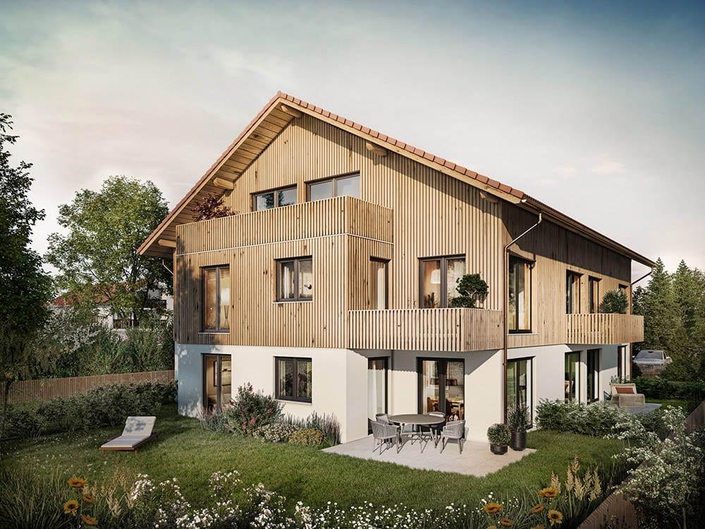 Mehrfamilienhaus mit Holzverkleidung_1K